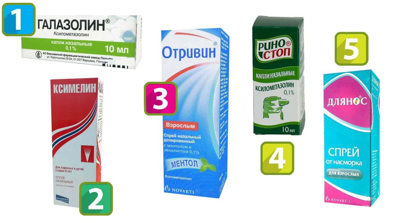 Галазолин, Ксимелин, Отривин, Риностоп, Длянос