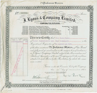 J. Lyons and Company Limited preference shares certificate overstamped as stock certificate