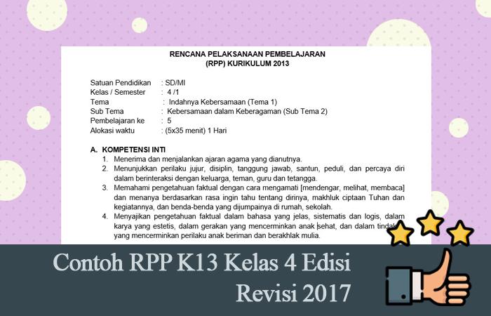 Contoh RPP K13 Kelas 4 Edisi Revisi 2017