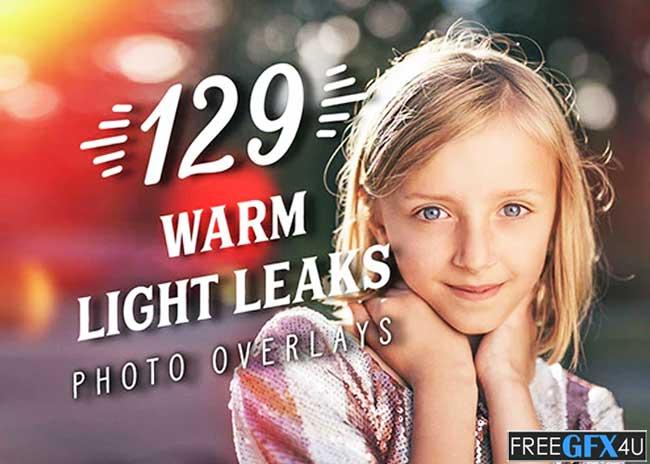129 Warm Light Leaks Photo Overlays