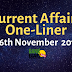 Current Affairs One-Liner: 16th November 2019