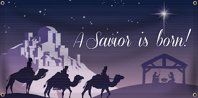 A Savior is Born Christmas Banner | Banners.com