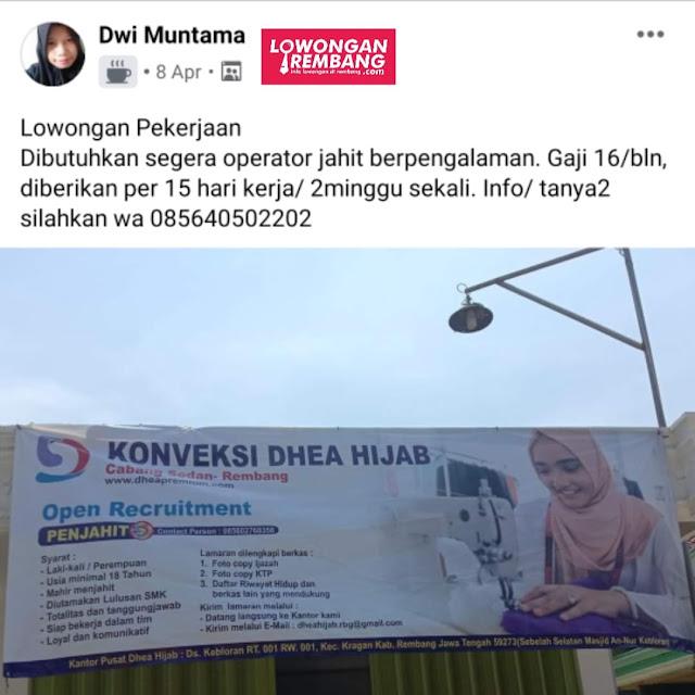 Lowongan Kerja Operator Jahit Konveksi Dhea Hijab Rembang
