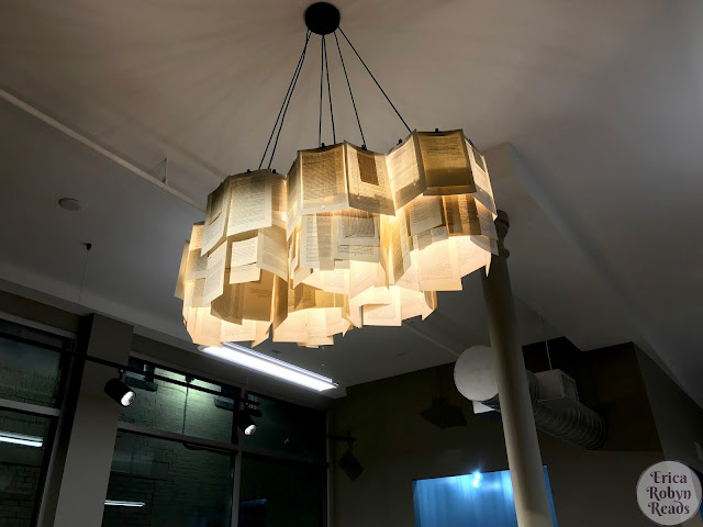Book page light fixture at Bookery