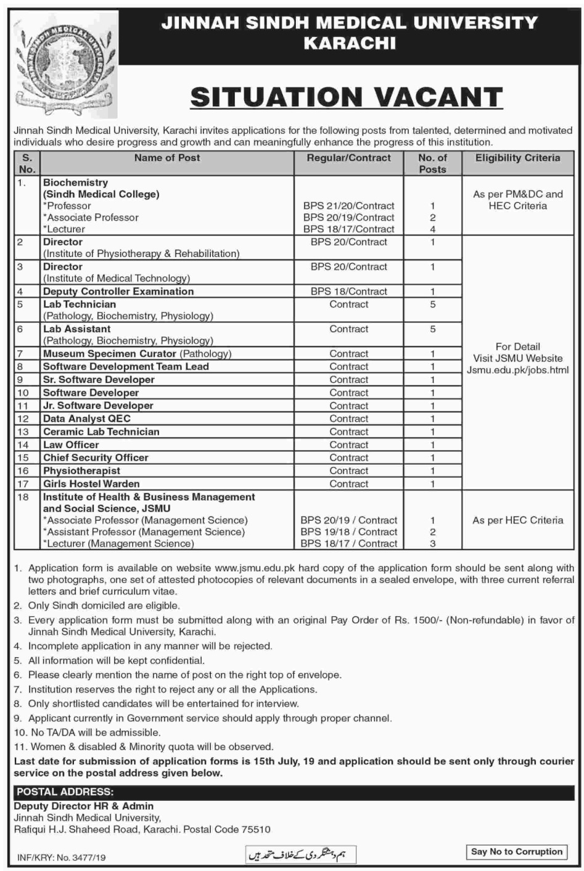 Jinnah Sindh Medical University (JSMU) Karachi Jobs 2019