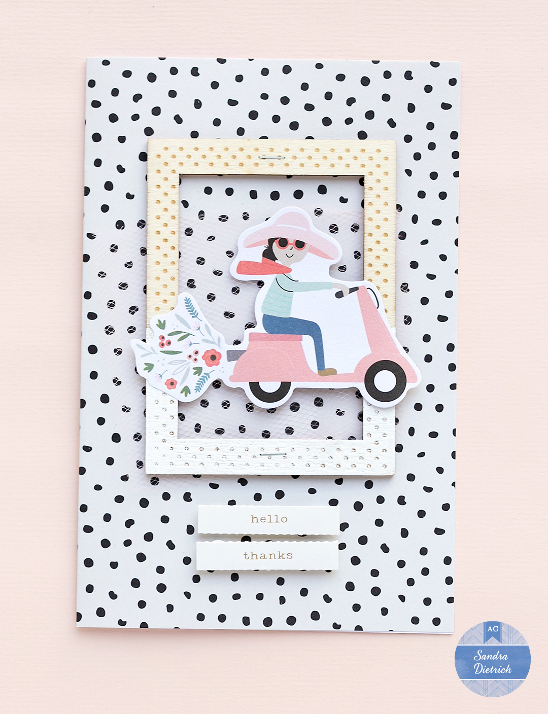 Card with a girl on a scooter Jen Hadfield The Avenue