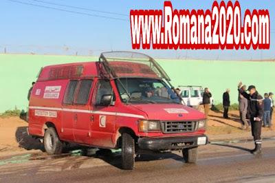 حادثة سير خطيرة انقلاب سيارة إسعاف أدت إلى صرع شخصين نواحي تزنيت