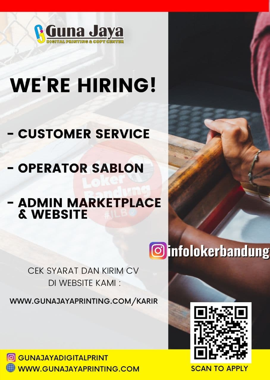 Lowongan Kerja Guna Jaya Digital Printing Bandung Agustus 2021
