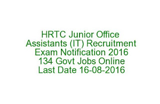 HRTC Junior Office Assistants (IT) Recruitment Exam Notification 2016 134 Govt Jobs Online Last Date 16-08-2016