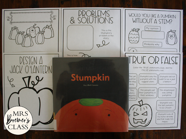 Stumpkin book study activities unit with Halloween themed Common Core aligned literacy companion activities for Kindergarten and First Grade