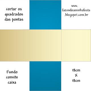 Azul y Dorado: Cajas para Primera Comunión para Imprimir Gratis.