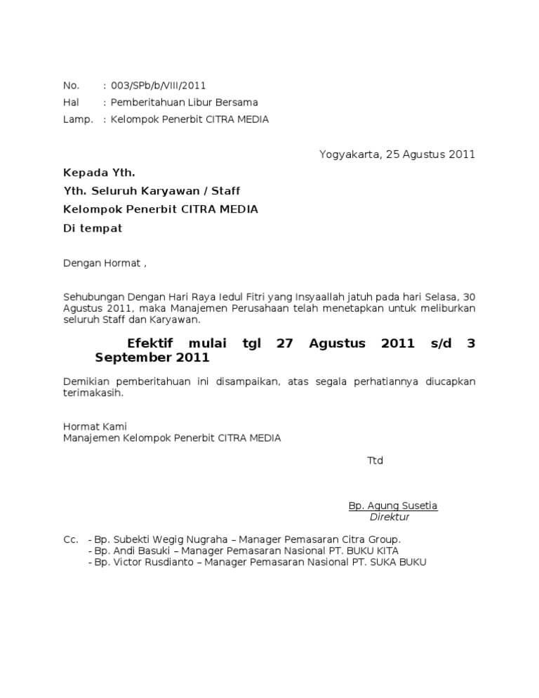 Contoh Surat Pemberitahuan Libur Lebaran Karyawan