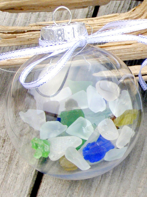 Filled Ball Ornaments with Beach Glass