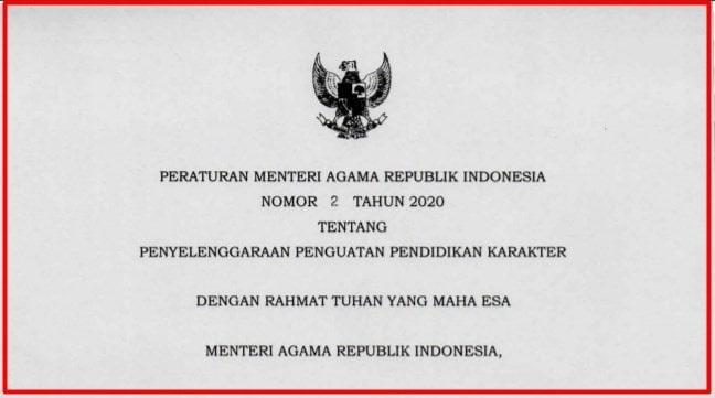 Peraturan Menteri Agama Nomor 2 Tahun 2020 tentang Penyelenggaraan Penguatan Pendidikan Karakter