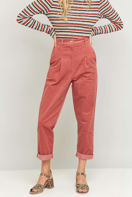 urban vintage pink cord trousers, pink cord trousers, vintage corduroy trousers,