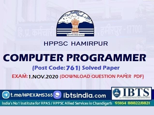 HPSSC Computer Programmer Question Paper 2020 Pdf (Download HPSSC Computer Programmer Answer Key 2020)