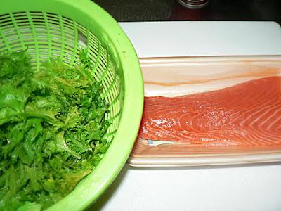 サーモンとワサビ菜