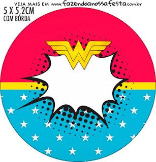 Mujer Maravilla Rubia: Toppers para Cupcakes, Stickers o Etiquetas Redondas para Imprimir Gratis.