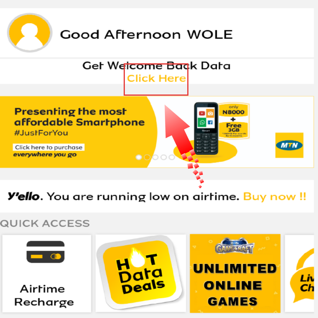 How To Activate MTN Welcome Back Offer Through MyMTN App