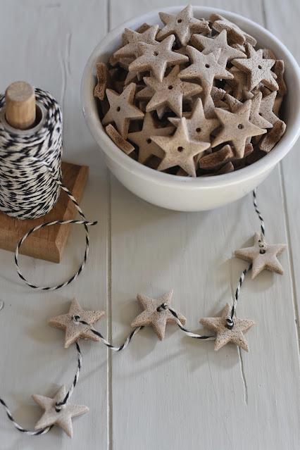 Christmas scented salt dough star ornament garland