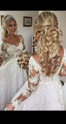 vestido de novia, peinado y tocado hermoso