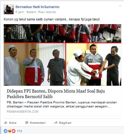 Aksi FPI Membredel Baju Paskibra Bermotif Mirip Salib Menuai Sindiran