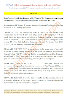 Ordinary Resolution in General Meeting for Erosion of Net Worth