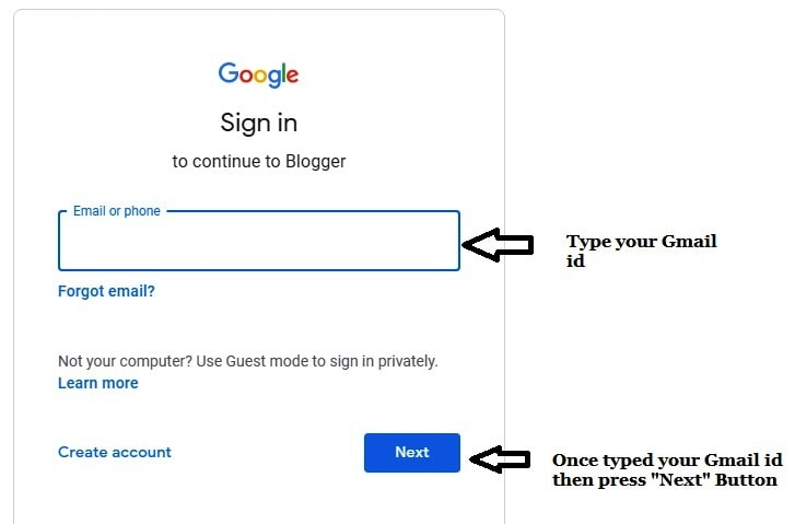 Type Gmail id in sign in option