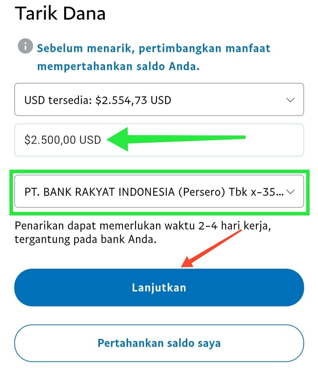 Tarik Uang Paypal lewat Bank Mandiri BRI Syariah mandiri BNI