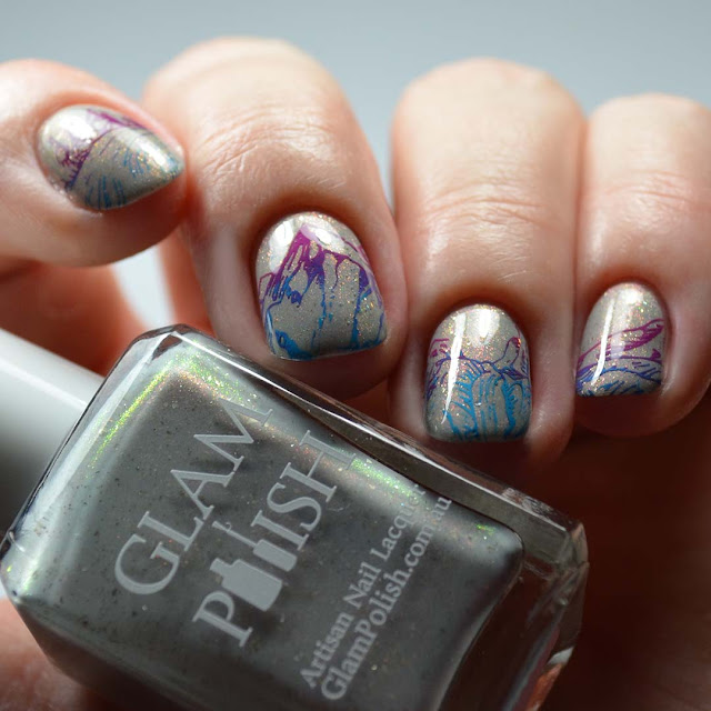 stamped mountain nail art