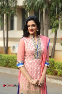 Actress Vimala Raman Stills in Beautiful Pink Salwar Kameez at (ONV) Om Namo Venkatesaya Press Meet  0118.JPG