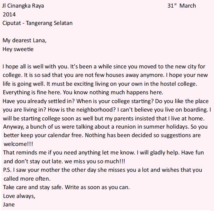 contoh personal letter yang baik