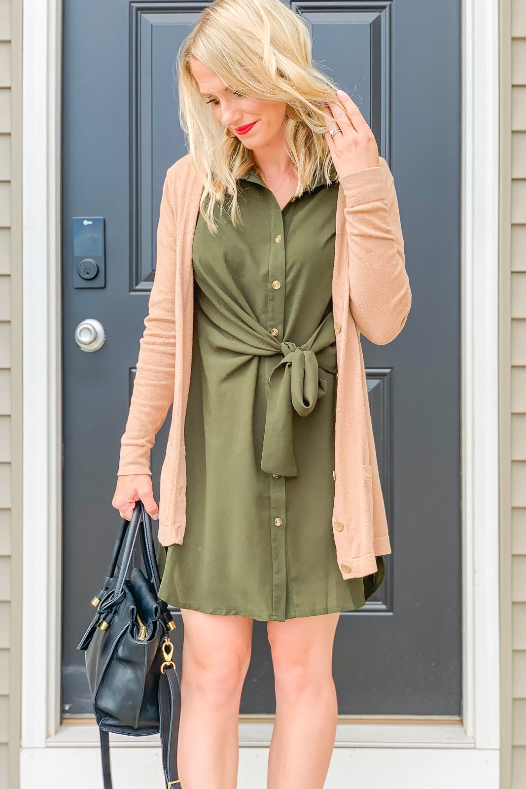 Green shirt dress from Amazon styled for fall