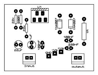 dual power tda2030 amplifier pcb top