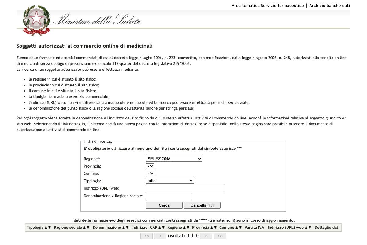 Elenco farmacie online autorizzate