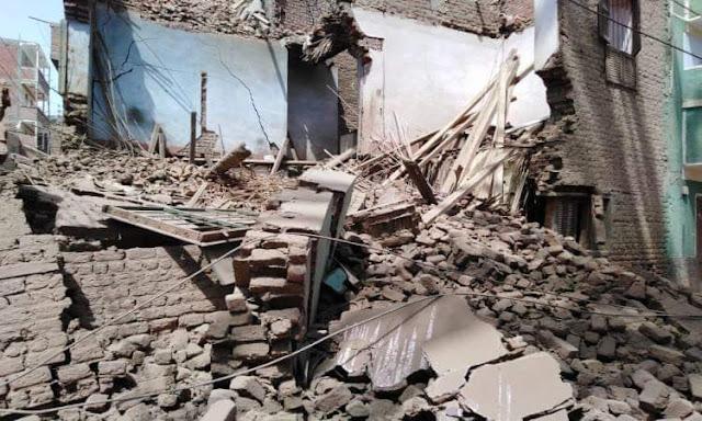 إصابة شخصين فى انهيار منزل بقرية تونس بسوهاج