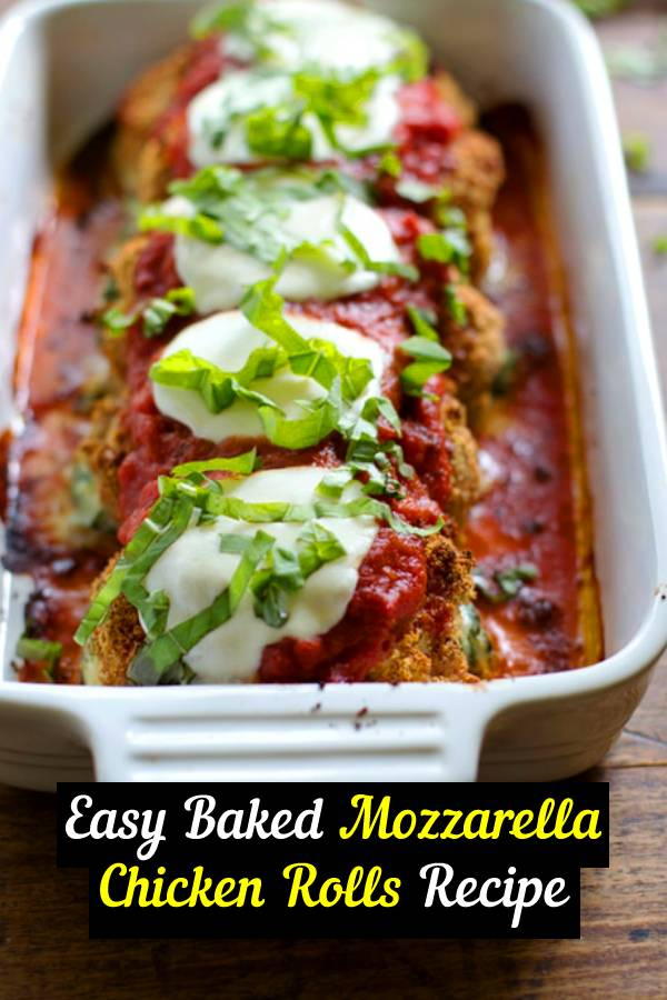 This recipe for Baked Mozzarella Chicken Rolls is easy, delicious, and beautiful! #healthy #dinner #chickenrecipe #recipe