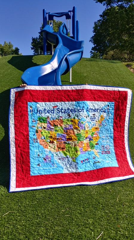 Slice of Pi Quilts: USA Map Quilt Surprise on map print, map in europe, map art projects, map with mountains, map duvet cover, map quotes, map party decor, map mobile, map project ideas, map jewelry, map with states, map recipe, map fabric, map bedding, map ne usa, map with compass, map design, map quip, map skirt, map crib set,