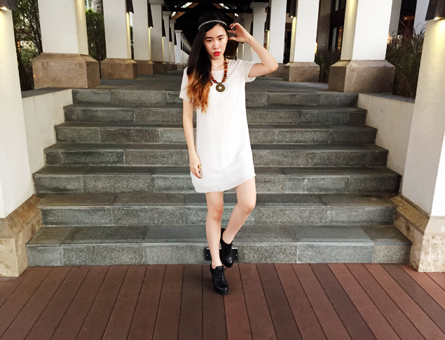 Brunei Blogger May Cho of The Mayden | beaded boho, little white dress, lwd, ankle boots, necklace, headband, boho, minimal, red lips
