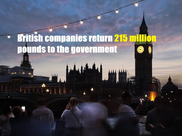 British companies return 215 million pounds to the government