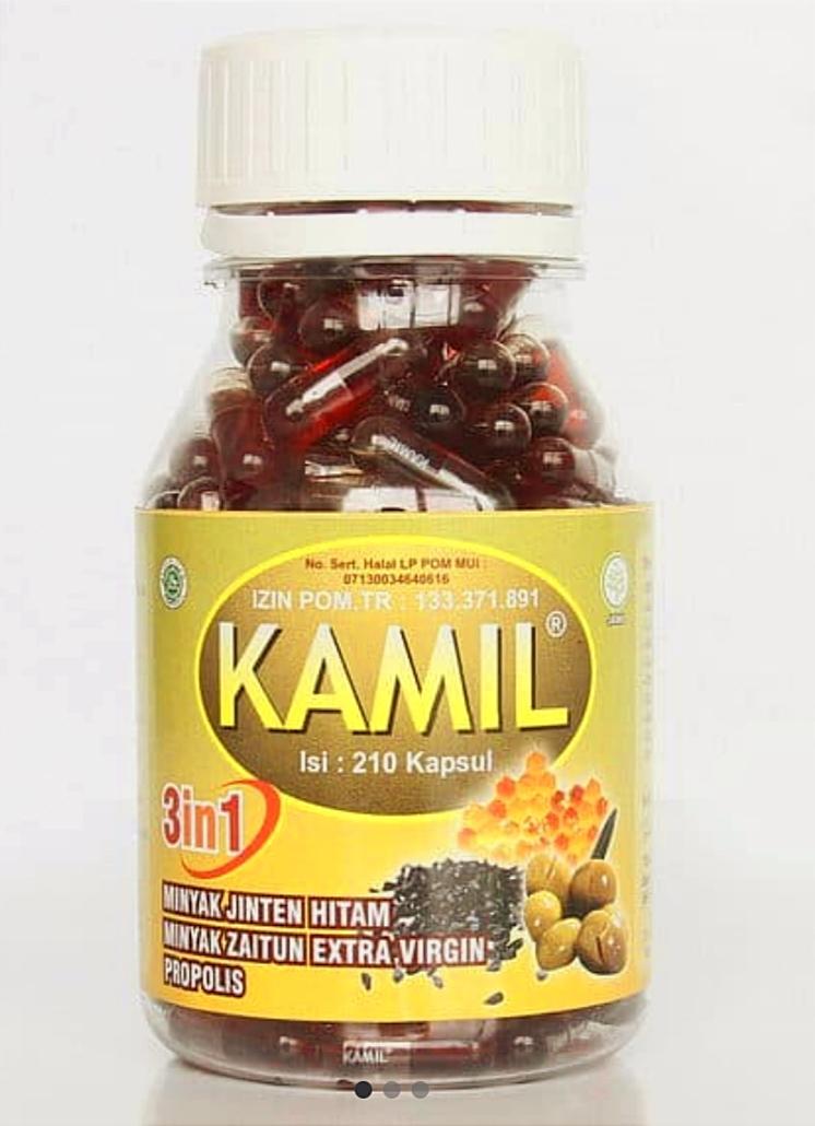 Jual Kamil 3 in 1 Habbatussauda, Zaitun, Propolis 200 Kapsul.
