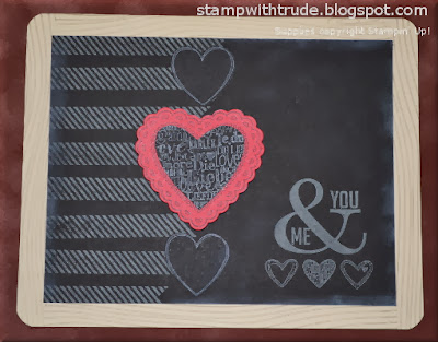 chalkboard, slate, Hearts a Flutter, Language of Love, Perfect Pennants, Sunday Stamps, Stamp with Trude, Stampin' Up!, Valentine