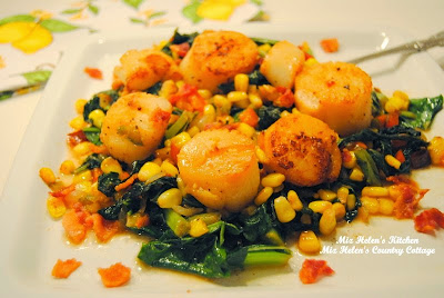 Seared Sea Scallops with Corn and Greens at Miz Helen's Country Cottage