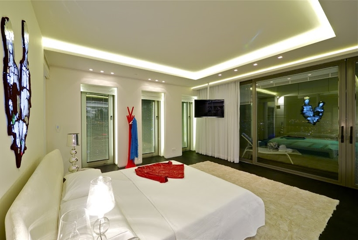 Penthouse bedroom at night