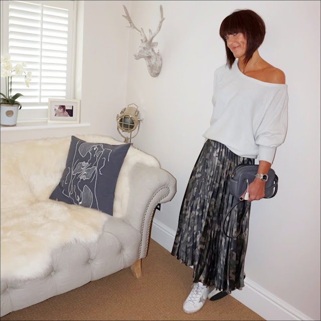 my midlife fashion, iris and ink off the shoulder cashmere jumper, j crew leather cross body bag, asos camouflage satin pleated maxi skirt, golden goose superstar low top leather trainers