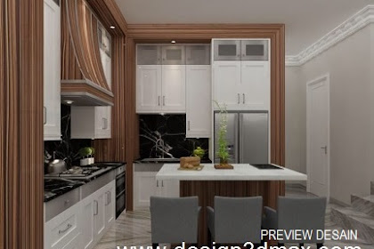 Design Kitchenset Body Veneer Coklat Table Top Marmer Putih