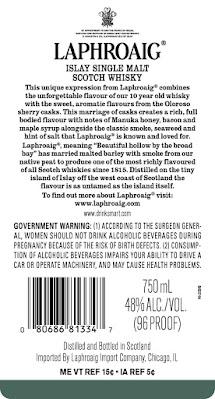 back label Laphroaig 10 sherry oak finish