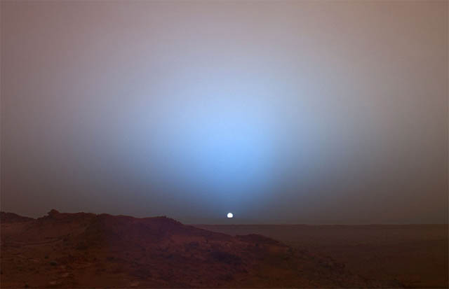 Pôr do Sol em Marte - Curiosity - metano
