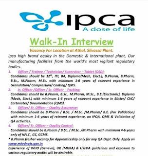 Ipca Laboratories Ltd Walk-In Interview Job Vacancy For  12th, ITI, Diploma, BE, BA, B.Sc., M.Sc, D.Pharm, B.Pharm, M.Pharm Candidates
