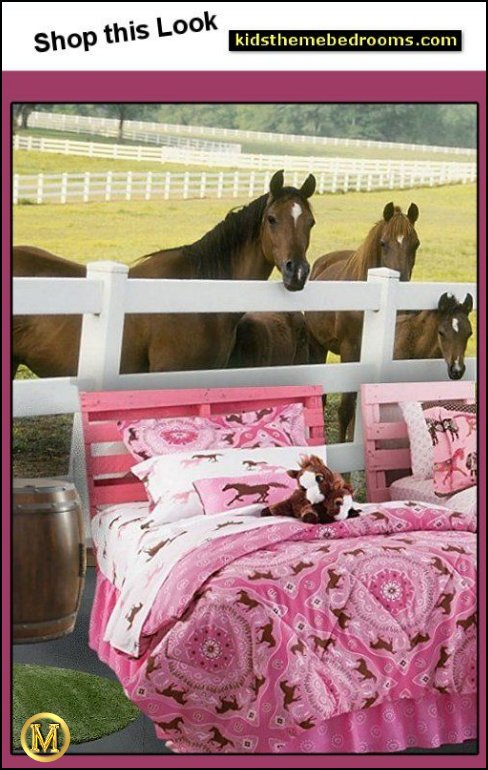 Pony  bedding Fence Mural HORSE BEDROOM DECORATING